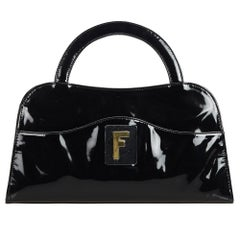 Fendi Black Patent Leather Leather Handbag Italy w/ Dust Bag