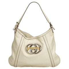 Gucci White Ivory Leather Medium Britt Hobo Italy