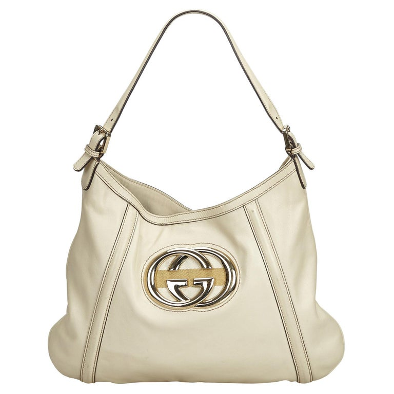 77063ceedc5 Gucci White Ivory Leather Medium Britt Hobo Italy For Sale at 1stdibs