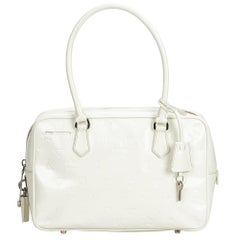 Prada White  Leather Bauletto Handbag Italy w/ PadlockKey