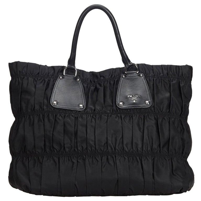 07bd3a26e213 Prada Black Nylon Fabric Gathered Tote Bag Italy w/ Dust Bag For Sale