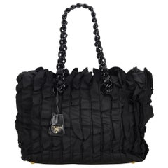 Prada Black Nylon Fabric Ruffled Tote Bag Italy w/ Dust BagAuthenticity Card