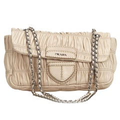 Prada Brown Beige Leather Gathered Chain Baguette Italy w/ Dust Bag