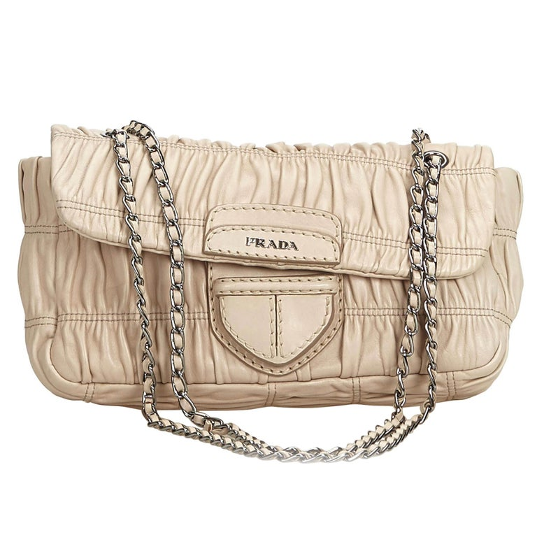 4488bfc09cf2 Prada Brown Beige Leather Gathered Chain Baguette Italy w  Dust Bag For Sale