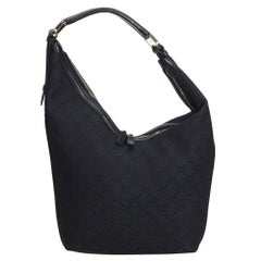 Gucci Black Jacquard Fabric GG Hobo Bag Italy