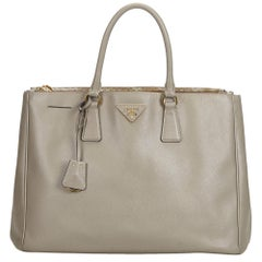 Prada Gray  Leather Saffiano Galleria Handbag Italy w/ Dust Bag