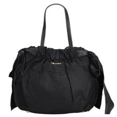 Prada Black Nylon Fabric Tessuto Bow Handbag Italy