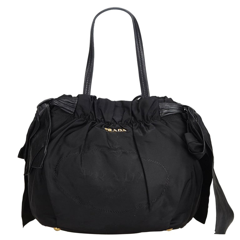 2e29b2d8031e Prada Black Nylon Fabric Tessuto Bow Handbag Italy For Sale at 1stdibs