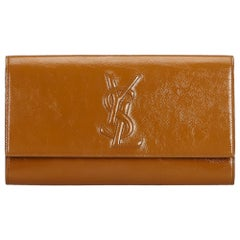 YSL Brown Camel Patent Leather Leather Belle du Jour Clutch Italy