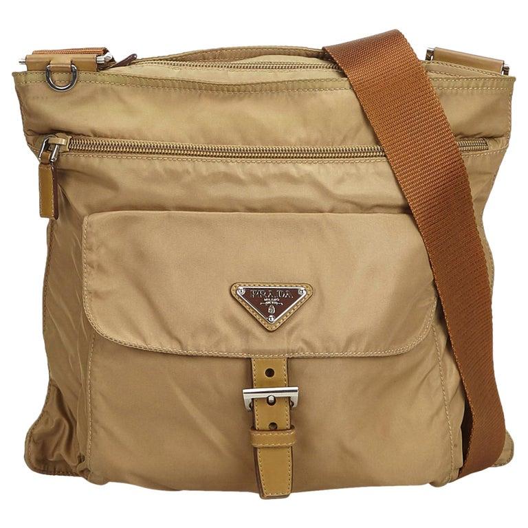 e42dba9baaf1 Prada Brown Beige Nylon Fabric Crossbody Bag Italy at 1stdibs