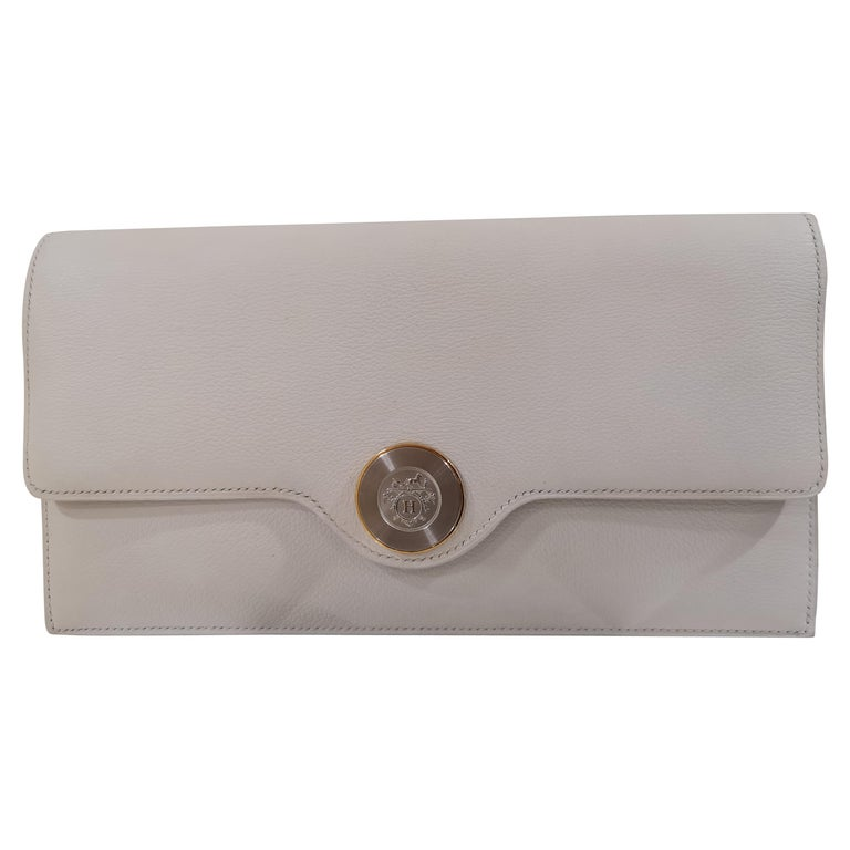 081b3a470 Hermès White Leather Clutch bag For Sale at 1stdibs