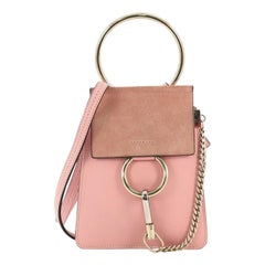 Chloe Faye Bracelet Crossbody Bag Leather and Suede Mini
