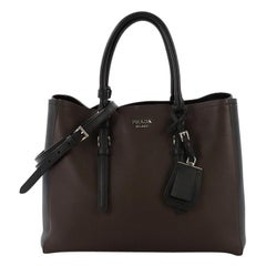 Prada Bicolor Cuir Covered Strap Double Tote City Calfskin Medium