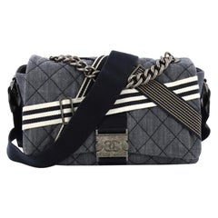 Chanel Airlines Buckle Messenger Bag Quilted Denim Medium