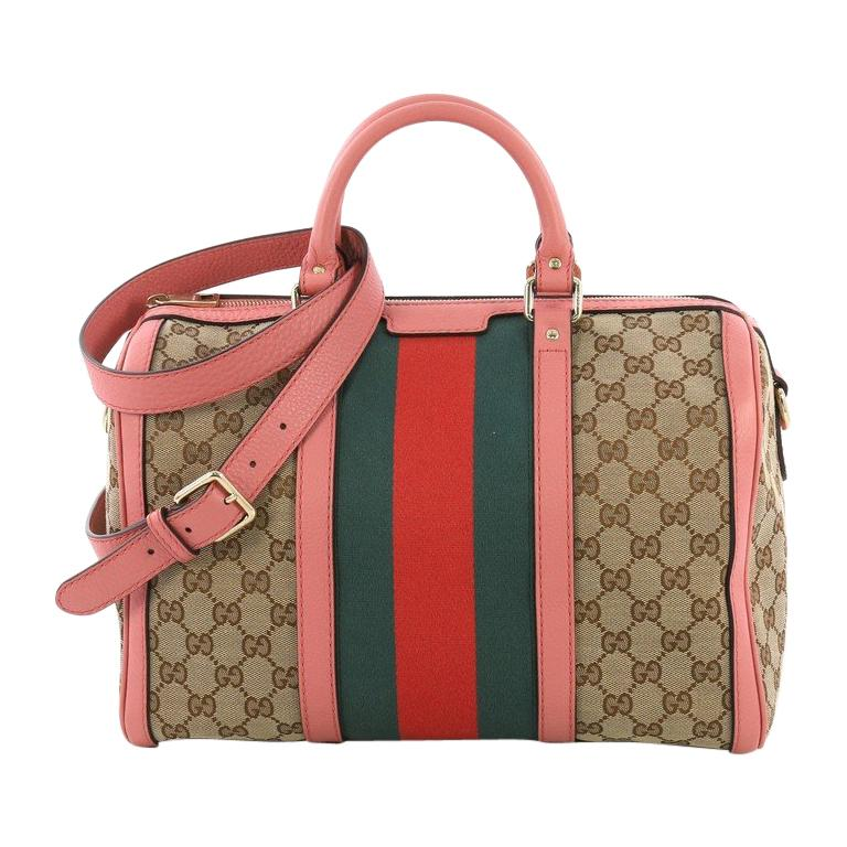 260cc0043d2 Gucci Vintage Web Boston Bag GG Canvas Medium For Sale at 1stdibs