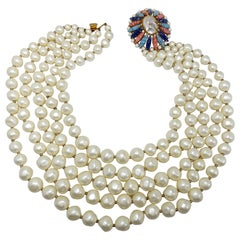 Marvella Five Strand Faux Pearl Necklace w Faux Mother of Pearl & Crystal Clasp