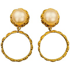 CHANEL Vintage Gold Tone Faux Pearl CC Textured Drop Hoop Clip On Earrings