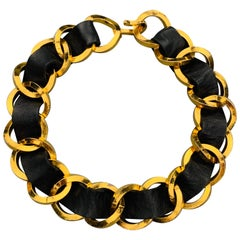 CHANEL 1990s Chunky Gold Tone Black Leather Woven Chain Link Necklace