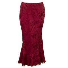 1990s John Galliano Burgundy Silk Jacquard Bias Skirt
