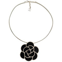 CHANEL Silver Tone Metal Black Enamel Camellia Choker Necklace