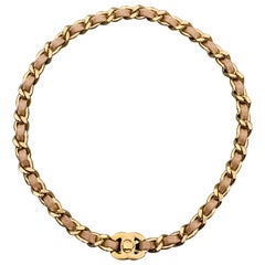 CHANEL Muted Gold Tone Chain Taupe Leather Woven CC Turnlock Choker Necklace