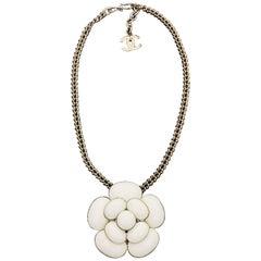 CHANEL 1998 White Enamel Camellia Silver Tone Necklace