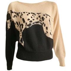 Krizia 1980s Dalmatian Dog Iconic Animal Sweater Size 4.