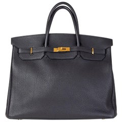 HERMES black Fjord leather & Gold BIRKIN 40 Bag