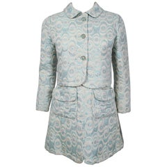 1965 Jean Patou Paris Light-Blue Metallic Brocade Mod Mini Dress & Jacket