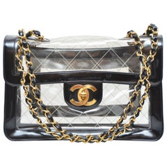 CHANEL Quilted CC Jumbo Double Chain Shoulder Bag Clear Black Vinyl