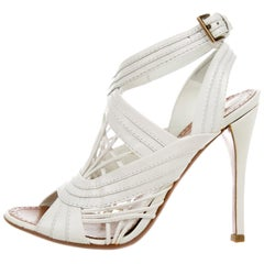 Alaia NEW White Leather Woven Evening Ankle Sandals Heels in Box