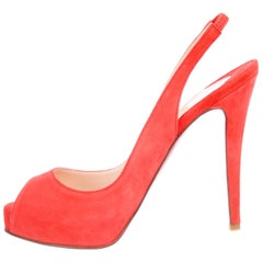 Christian Louboutin NEW Pink Orange Coral Suede Evening Pumps Heels in Box