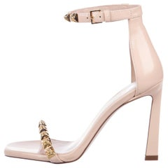 Stuart Weitzman NEW Nude Blush Gold Metal Detail Evening Sandals Heels in Box
