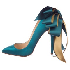 Christian Louboutin NEW Teal Blue Green Satin Gold Evening Heels Pumps in Box