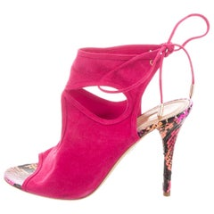 Aquazurra NEW Hot Pink Suede Snakeskin Evening Heels Sandals
