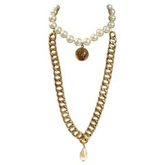 Chanel Pearl Coin and Link Chain Double Necklace