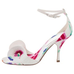 Chanel NEW White Floral Canvas Bow Evening Sandals Heels in Box