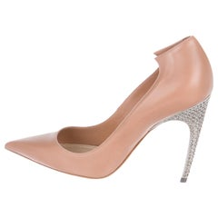 Christian Dior NEW Nude Blush Leather Crystal Evening Pumps Heels in Box