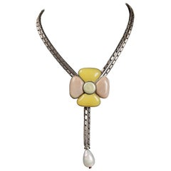 Chanel Pastel Gripoix Camellia Flower Necklace on Silver Chain