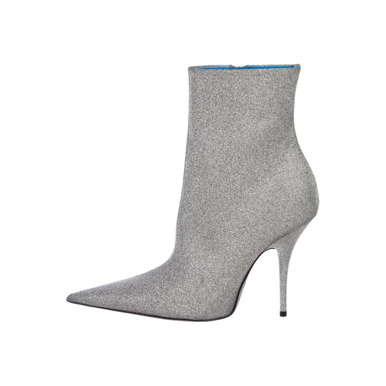 Balenciaga NEW Silver Glitter Pointy Toe Evening Ankle Boots Booties For Sale