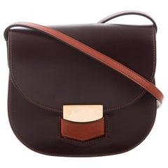 Celine NEW Phoebe Philo Brown Leather Gold Small Saddle Flap Shoulder Bag