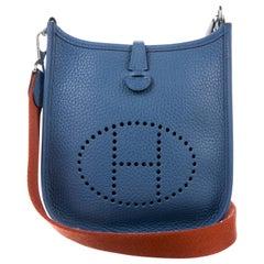 Hermes Light Blue Leather Orange Strap Small 'H' Shoulder Bag in Box
