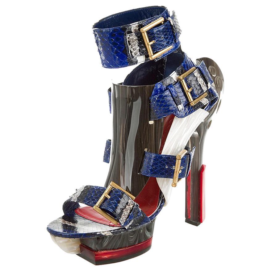 Alexander McQueen NIB Nicki Minaj Maya Python Platform Heels Sandals