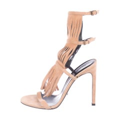 Gucci NEW Nude Blush Suede Fringe Evening Sandals Heels