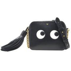 Anya Hindmarch Eyes Black Leather Crossbody Bag