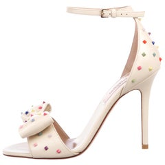 Valentino NEW Ivory Leather Multi Color Stud Evening Sandals Heels in Box
