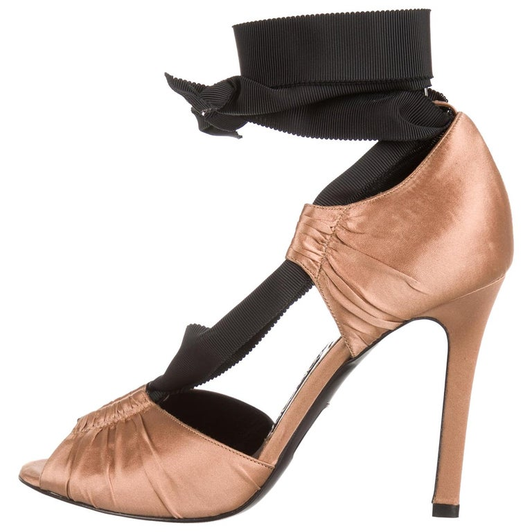 Tom Ford NEW Cognac Satin Black Tie Evening Sandals Heels in Box For Sale