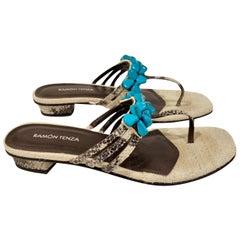 New Ramon Tenza Spain Turquoise Snakeskin Flat Sandal Slide Sz 8