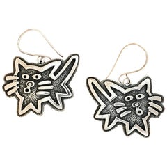 Kitty earrings, cast sterling silver Melanie Yazzie dangle cats contemporary