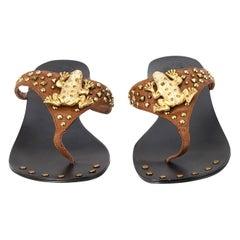 New Ramon Tenza Spain Gold Frog Flat Sandal Slide Sz 10